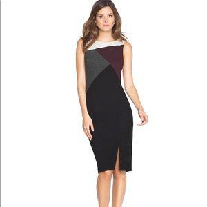 WHBM Asymmetric Colorblock Sheath Dress Sz 6